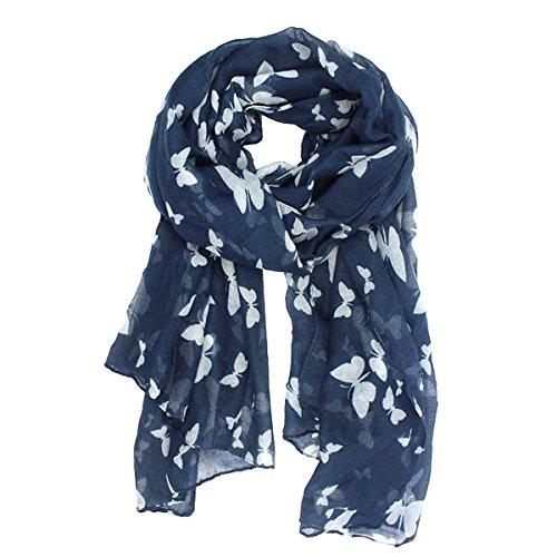 VORCOOL Voile Foulard Longue Châle Papillon Echarpe (Bleu Marine) product  image 765312fc900