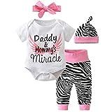 zebra shower head - Scfcloth Newborn Baby Girls Dad Mom Miracle Saying Romper + Pants + Hat + Headband 4pcs Outfits Set, Pink&white, 3 - 6 Months