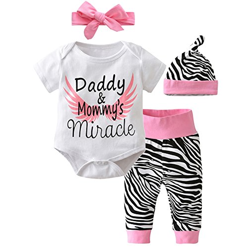 Scfcloth Infant Baby Girls Letter Print Bodysuit+ Zebra Pants+Hat+Headband Outfits (Zebra Print Baby)