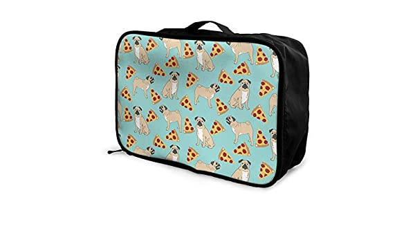 Lightweight Large Capacity Duffel Portable Luggage Bag Funny Vector Dogs Pug Puppies Pattern Pizza Travel Waterproof Foldable Storage Carry Tote Bag