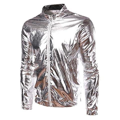 Mens Metallic Coating Front Zip Nightclub Jacket (L, Silver) (Mens Metallic Silver Jacket)