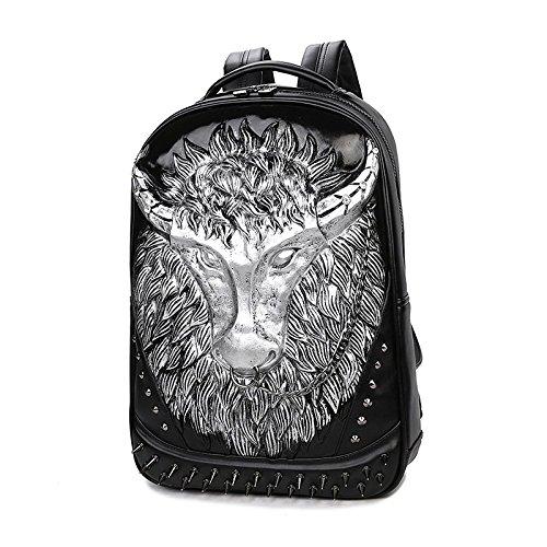 mochila de bandolera 3D Bull mujeres la y 35 mochila de computadora de remaches PU Silver realista alta 20 portátil viaje cabeza calidad Hombres de de waf87x4z4q
