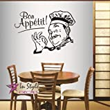 kitchen chef wall stickers - Wall Vinyl Decal Home Decor Art Sticker Bon Appetit Phrase Winking Cook Chef Kitchen Café Restaurant Room Removable Stylish Mural Unique Design