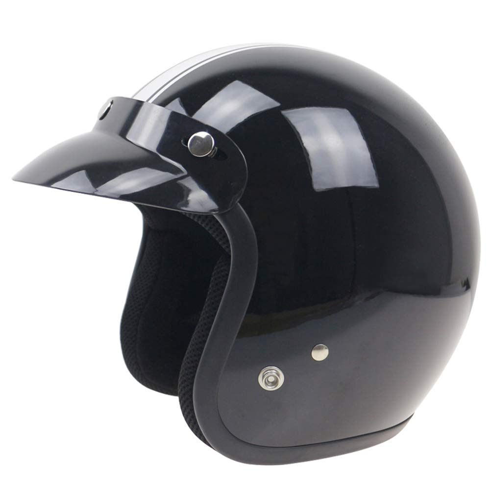 Leslaur Universal Black 3-Snap Motorcycle Helmet Peak Lens Open Face Sun Shade Visor Shield