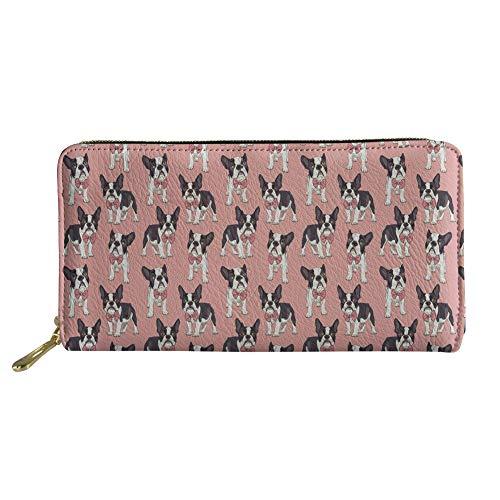HUGS IDEA Long Wallet for Women Ladies PU Leather Clutch with Zipper Pocket Cartoon French Bulldog Prints Purse (Leather Purse French Personalized)