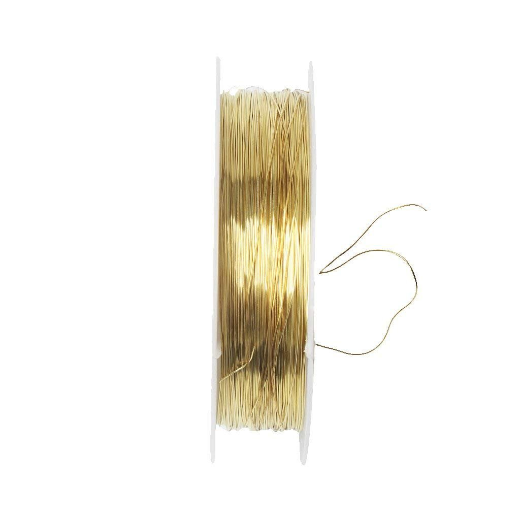 TOOGOO Ribbon Roll 22 m Metal Wire for Jewelry Making Artisanal Project 0.3 mm- Golden