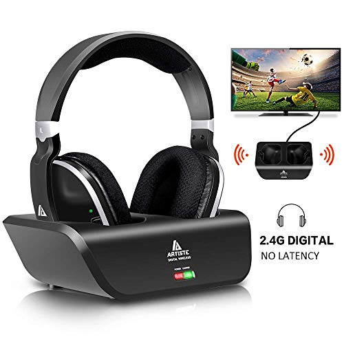 Wireless Headphones for TV with RF Transmitter for Netflix Hulu Watching and Listening-Digital Over Ear Cordless TV Headphones Rechargeable 20 Hour Battery and Charging Dock Also for Hard of ()