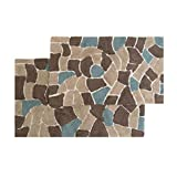 Chesapeake Merchandising Boulder 2-Piece Bath Rug Set, 21 by 34-Inch and 24 by 40-Inch, Slate