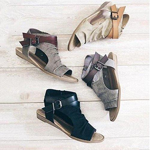 Yiwa Women Canvas Sandals Large Size Simple Design Fish Mouth Denim Shoes Roma Shoes Khaki w7uUSjuZS