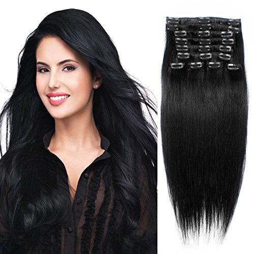 Straight Remy Human Hair Clip in Hair Extension 26 Inches(65cm) 120g 10pcs, Color 1J Jet Black
