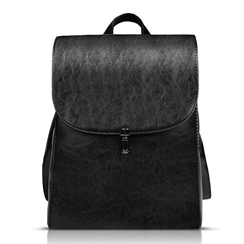 Funnyd Women's Pu Leather Backpack Purse Ladies Casual Shoulder Bag School Bag (Black)