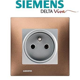 SIEMENS - Prise 2P+T Silver Delta Viva + Plaque Métal Marron: Amazon ...