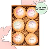 Bath Bombs Fizzies by LOVE YOU Studio | Set of 6 Relaxation Bubble Supplies | Gifts for Her Women Mothers Spa Birthday