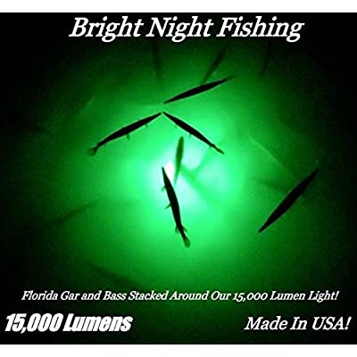 Image of Attractants Bright Night Fishing 25ft Battery clamp Underwater Fishing Light Green 15,000 lumens 300 LED 360 Degree Submersible Priority Shipping Salt Water Fresh Water 12v DC Dock Light Boat Crappie BR:15000