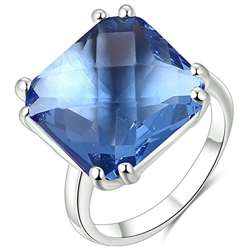 TEMEGO Platinum Plated Silver Princess Cut Blue Gemstone Austrian Crystal Engagement Ring,Size 8