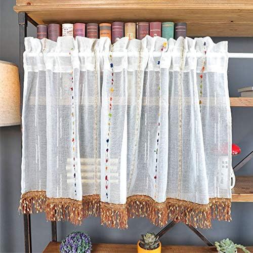 HXSM ホワイト チュール カーテン リネン カフェカーテン おしゃれな ショートカーテン シンプル キッチンカーテン モダン 目隠し