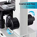 Awarded 2018 Best Compound Microscope - OMAX 40X-2000X Lab LED Binocular Microscope with Double Layer Mechanical Stage w Blank Slides Covers and Lens Cleaning Paper