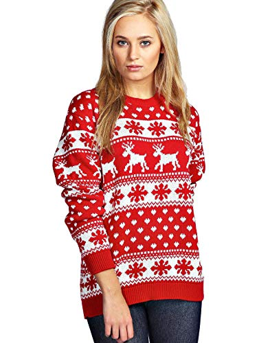 et UNISEXE l rouge de tricot neige FEMMES flocon HOMMES haut NEUF Snowflakes No Red l no Rennes Y7qx76Ir