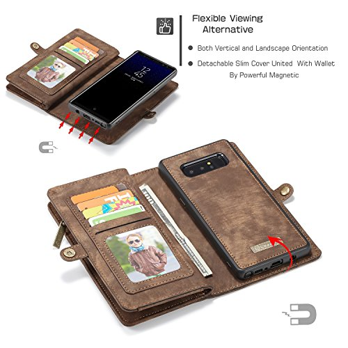 JIALUN-Caja del teléfono o cubierta Funda de billetera CaseMe Samsung Galaxy Note 8 con funda extraíble de TPU para PC, de lujo, hecha a mano, cuero TRIFOLD Protege tu teléfono ( Color : Red ) Coffee