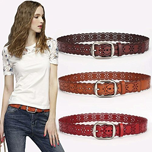 WHIPPY Genuine Leather Belt for Women Western Belt with Flower Hollow Out Strap