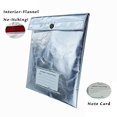 Eavegg Fireproof Safe Money Bag NON-ITCHY Withstand 1000°F Fire Resistant Waterproof Envelope Pouch