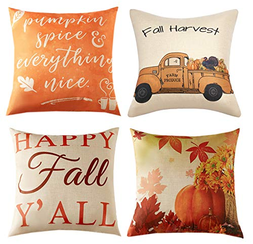 Fall Season Decorations (Anickal Set of 4 Fall Pillow Covers Autumn Theme Farmhouse Decorative Throw Pillow Covers 18x18 Inch for Fall)