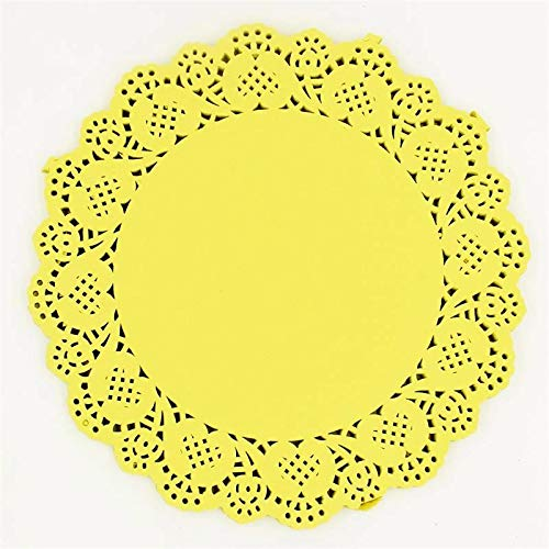 (Eagles doilies paper 20Pcs 6.5'' Colored Flower Lace Round Paper Doilies Placemat Craft Doyleys Christmas Birthday Tableware Decoration Yellow)