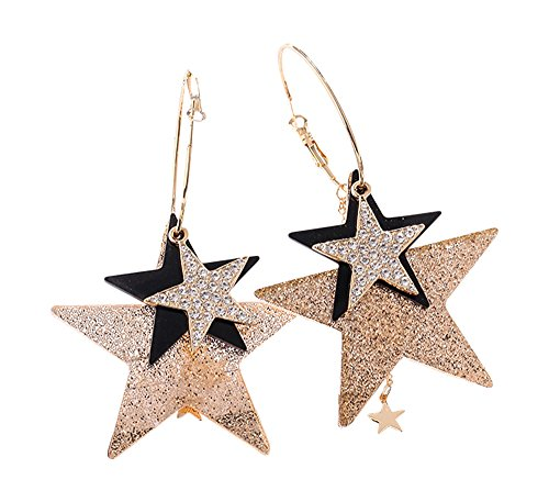 CRB Fashion Womens Ladies Girls Teens Dangle Large Medium Small Shiny Star Hoop Earrings -