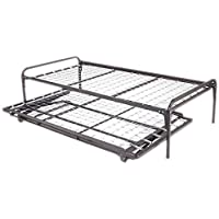 Twin Size Dark Black Metal Day Bed (Daybed) Frame & Pop Up Trundle (39 Twin Size)