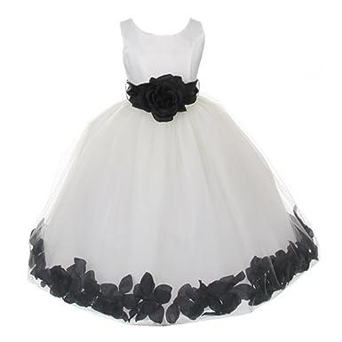 244706030e1 Little Girls Ivory Black Floral Petals Organza Sash Flower Girl Dress 4