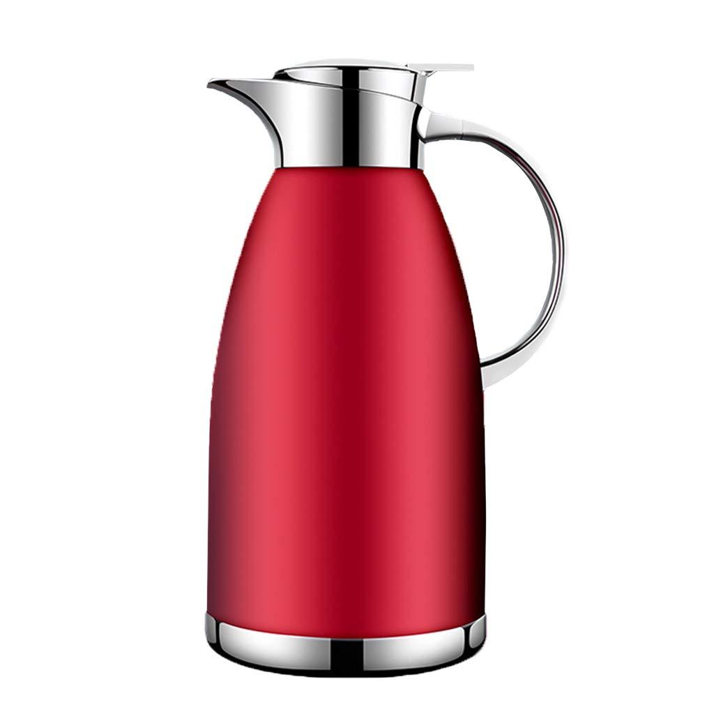 LRXG Thermoskannen, 304 Edelstahl 2L Doppelwandige Vakuumisolierte Kaffeekanne Kaffee Plunger Juice Isolation Reisebecher B5