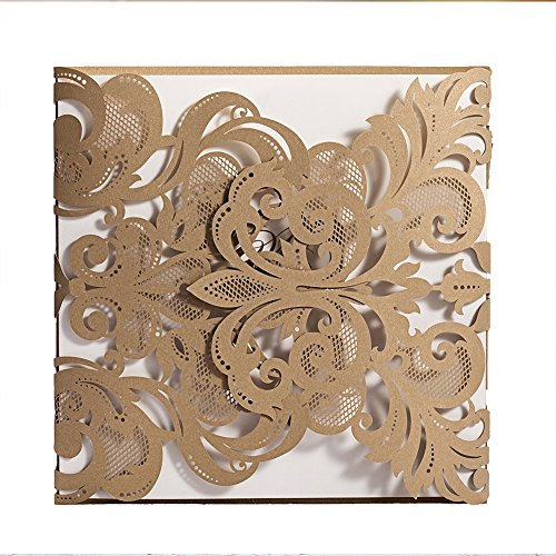 Wishmade 1X Gold Laser Cut Wedding Invitations Cards Kit With Envelopes and Seals Engagement Bridal Shower Party invites Provide Custom Personalized Printing (Wedding Dinner Invitation Wording)