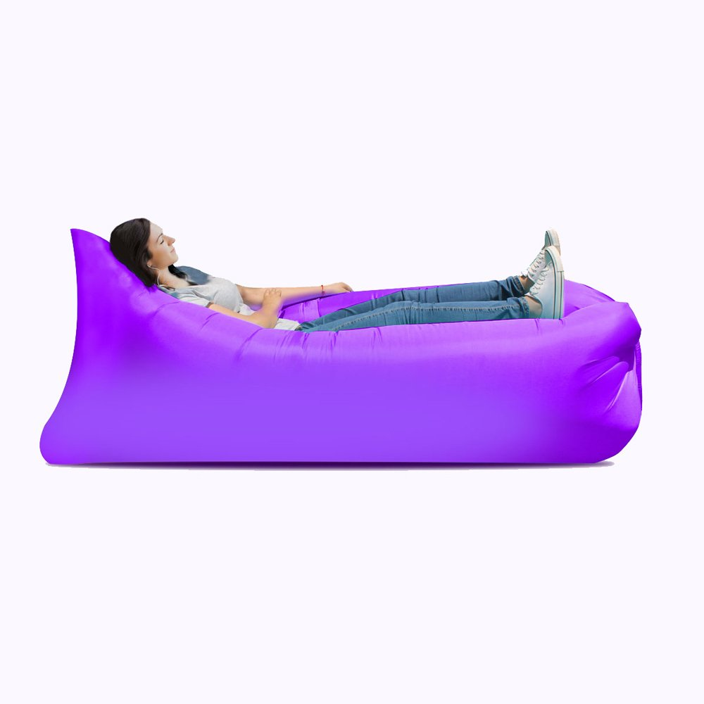 Inflatable bed Inflatable sofa bed, inflatable bed, portable waterproof leakproof sofa bed, travel goods, camping supplies, beach travel camping picnic chaise longue sofa bed ( Color : Purple ) by JYKJ