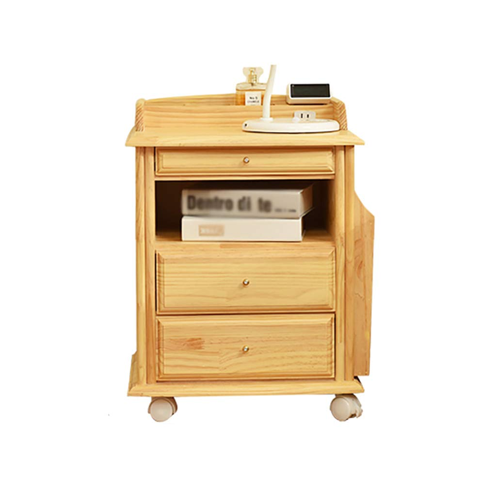 LQQGXLBedside Table Solid Wood Wheeled Bedside Table, Simple and Modern Multi-Function Locker Creative Bedroom Side Cabinet Small Side Table by LQQGXL