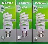 Pack of 3, E-Saver CFL Full Spiral, 15w = 80watt, Warm White 2700k, Compact Fluorescent Lamp, Screw in Cap, Screw Edison (ES) E27, 800 Lumen, T2, 80%-85% Energy Saving Light Bulb, Flicker Free, 10,000 Hours Life Time