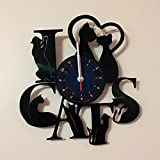 I LOVE CATS - Vinyl Record Wall Clock - Kids Room wall decor - Gift ideas for kids, girls, boys, teens - Cartoon Unique Art Design