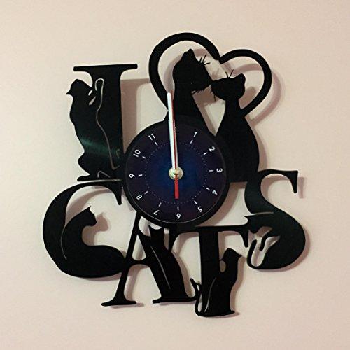 I LOVE CATS - Vinyl Record Wall Clock - Kids Room wall decor - Gift ideas for kids, girls, boys, teens - Cartoon Unique Art Design by World Clock Gift