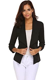 b7b4cb72e86 Qearal Womens Solid 3 4 Ruched Sleeve Open Front Draped Lapel Work Office Blazer  Jacket