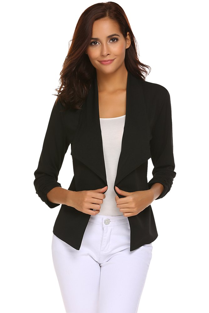 Qearal Womens Lightweight 3/4 Ruched Sleeve Open Front Cardigan Blazer Jacket (Black, (US 8-10) Medium)