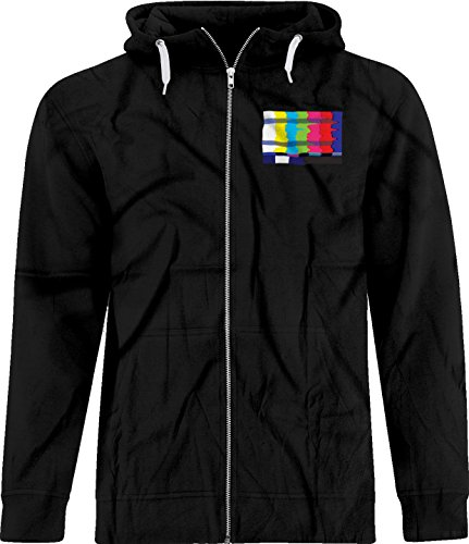 BSW Unisex No Channel Color Bars Vintage Off-Air TV Crest Zip Hoodie MED Black