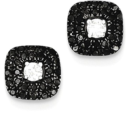 ICE CARATS 925 Sterling Silver Black White Jacket Stud Diamond Square Ball Button Earrings Fine Jewelry Gift Set For Women Heart by ICE CARATS
