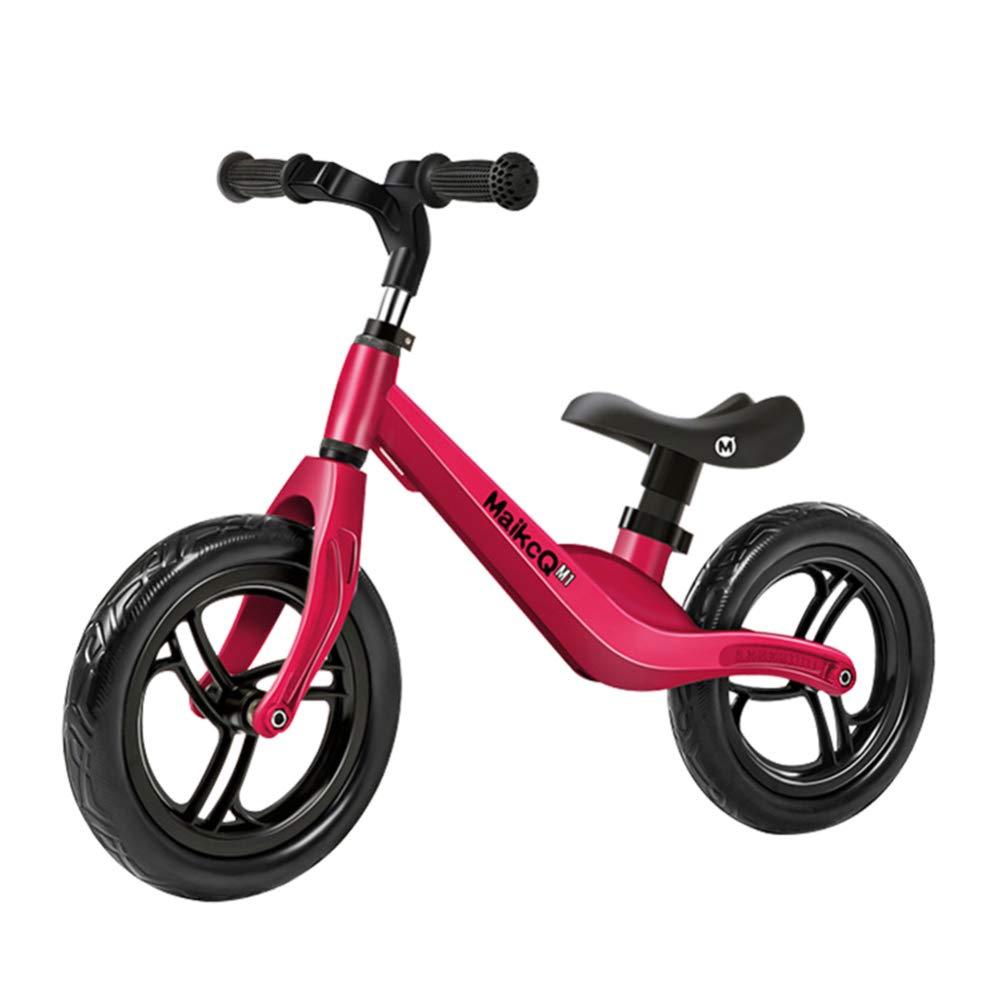 YSH 12 Pulgadas Bicicleta Sin Pedales Ligero   Altura Ajustable   Marco De Aleación De Magnesio   Rueda Neumática   2-6 Años / 80-120cm,Red