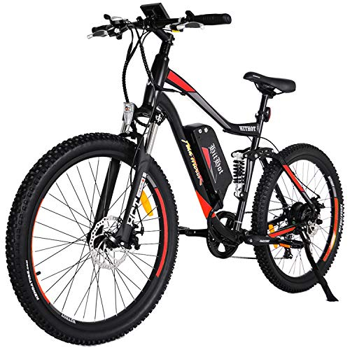 Addmotor HITHOT Electric Mountain Bike 48V 500W Motor Ebike Full Suspension 10.4Ah Lithium Battery Pedal Assist Sport Electric Bicycle 27.5Inch 2018 for Adult Men For Sale