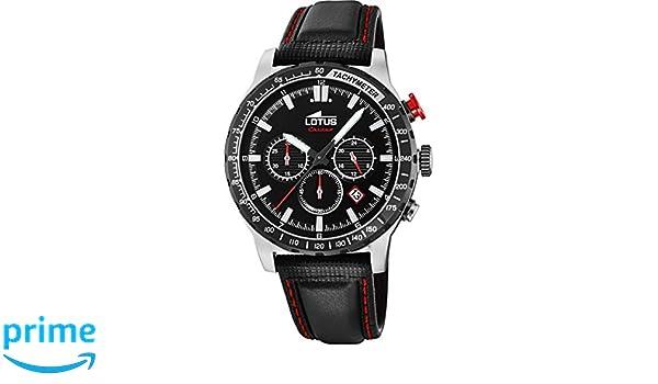 c1ba04978a51 Lotus Reloj Cronógrafo para Hombre de Cuarzo con Correa en Cuero 18587 4   Amazon.es  Relojes