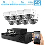 Amcrest 4K UltraHD Video Security Camera System w/ 4K 16CH PoE NVR, (8) x 4K Dome IP PoE Cameras, 9-Port PoE+ Switch w/Gigabit Uplink, Pre-Installed 4TB Hard Drive (Supports up to 6TB) (White)