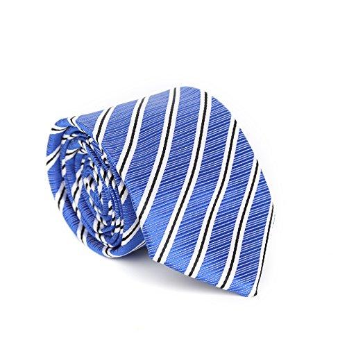 amp; Set Cufflinks LanSilk Slim Tie Tie Silk Men Hanky Handkerchief Set Classic Tie Necktie 8 Stripe Silk Giftbox Cufflink Blue Selection Handmade 100 CTw0wPq