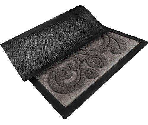 Amagabeli fleu de lis floral rubber welcome doormat shoes scraper mat for outdoor front door non - Front door mats as a guest greeting tool ...