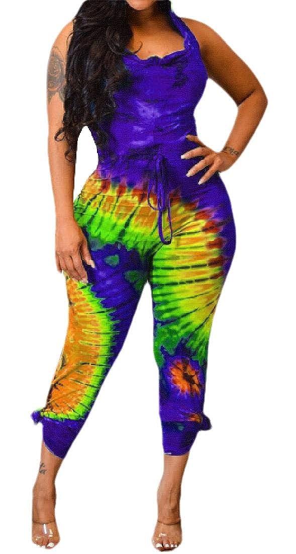 Women Tie Dye Sleeveless Hooded Backless Bodycon Jumpsuit