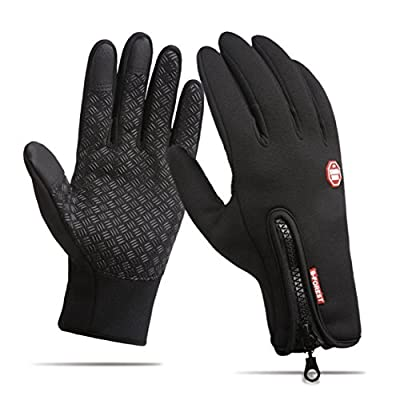 Winter Cycling Gloves, Windproof Anti-slip Touch Screen Texting Cold Weather for Driving/ Bike or Outsides Sports - Adjustable Size