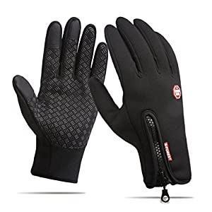 HILELIFE Winter Cycling Gloves, Windproof Anti-slip Touch Screen Texting Cold Weather for Driving/Bike or Outsides Sports - Adjustable Size (S)